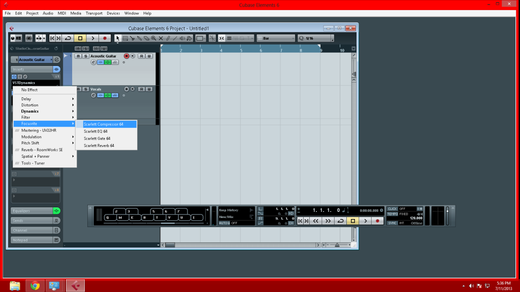 Navigating to inserts to find Scarlett Plugins in cubase